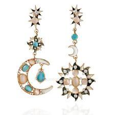 Women Fashion Korean Style Star Sun Moon Rhinestone Stud Dangle Earrings Popular