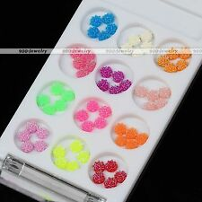 60pcs Womens 3D Acrylic Rose Flower Decoration UV Gel Nail Art Tips Candy Color