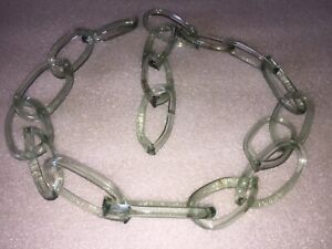 """Antique Clear Glass Chain 19 Links 38"""" Late 19th Century"""