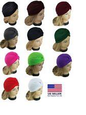 Lady Stretchy Turban Head Wrap Band Chemo Bandana Hijab Pleated Indian Cap Hat