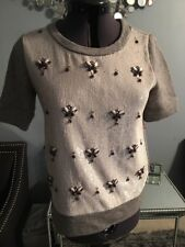 J.CREW EMBELLISHED MOCKNECK SWEATER SIZE XXS HEATHER SILVER