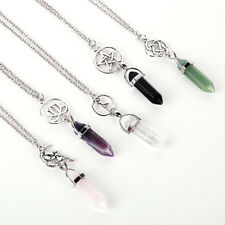 1PC Gemstone Natural Crystal Quartz Healing Point Chakra Stone Pendant Necklace
