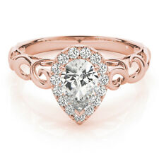 Filigree Halo Pear Shape Diamond Solitaire Engagement Ring in Rose Gold GIA