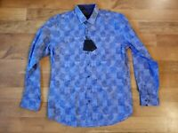BUGATCHI men's classic fit LARGE blue long sleeve shirt $179