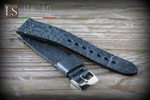 20 22 Genuine Italian Handmade Leather LS ILLINOIS Vintage Watch Strap Black