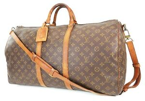 Auth LOUIS VUITTON Keepall Bandouliere 55 Monogram Canvas Duffel Bag #38515
