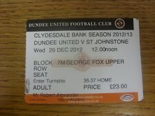 26/12/2012 Ticket: Dundee United v St Johnstone  .  Thanks for viewing our item,