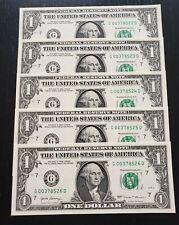5 Consecutive Serial # US $1 DOLLAR BILLS Uncirculated, consecutive numbers