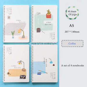 Line Girl Drawing Cover 4Pcs A5 Spiral Coil Journals Diary Ruled School NoteBook