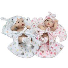 2PCS Handmade Full Sillicone Vinyl Lifelike Twins Baby Reborn Dolls Girl & Boy