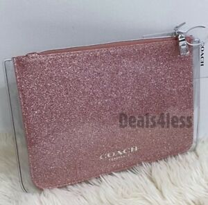 COACH POUCH BAG DREAM PINK GLITTER SPARKLE MAKEUP TOILETRY COSMETIC CASE CLEAR