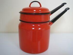 Vintage Red & Black Enamel Ware Bain Marie Double Boiler Pan Saucepan