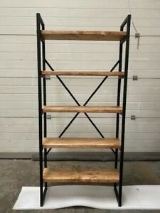Industrial Bookcase Rustic Shelf Unit Metal Storage Display Cabinet - FRAME ONLY