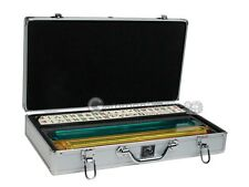 Mahjong Set by White Swan - Ivory Tiles, Modern Pushers, Silver Aluminum Case