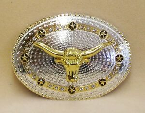 Belt Buckle Longhorn Silver and Gold Color With Gold Stars and Clear Rhinestones