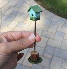 Hand Painted Blue Bird House Birdhouse on Pole by Wilhelmina Dollhouse Miniature