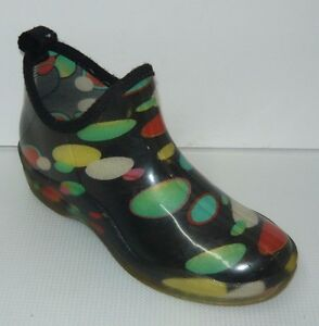 Iso What! Rubber Black/Green Rain Shoes Size 8