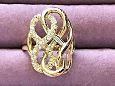 HSN Roberto by RFM gold tone and crystal openwork ring size 10