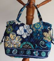 VERA BRADLEY SHERRY PURSE HANDBAG MOD FLORAL BLUE RETIRED EXCELLENT CONDITION