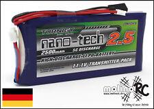 1x Turnigy nano-tech 2500mah 5-10C Lipo TX Sender Akku NEU 11,1V Futaba Robbe 3S
