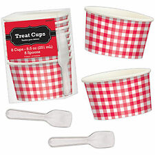 8 Summer Picnic BBQ Garden Party Gingham Red Dessert Treat Pots Cups & Spoons