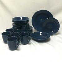 23 PIECE ODD LOT OF ONEIDA PETALS COBALT BLUE BELL DINNER PLATE SALAD BOWLS MUGS