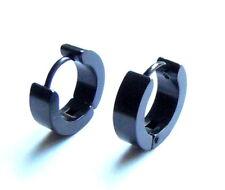 Negro Huggie Pendientes - Par Acero Inoxidable Alternatico Pendientes de aro