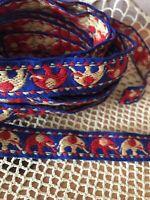 "Vintage Elephant Trim Ribbon 6 yards Primitive Old Sewing Costume Art 3/4"""