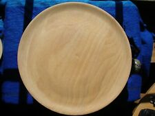 Set of six 25cm round wooden plates  with stand