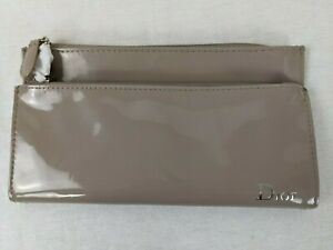 DIOR NEW CHRISTIAN DIOR TAUPE Patent Clutch Cosmetic Bag Purse
