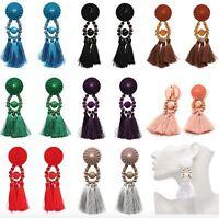 UK Women Fashion Long Tassel Dangle Earring Boho Fringe Drop Earrings