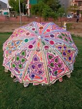 Indian White Handmade Beautiful Peacock Embroidery Vintage Garden Patio Umbrella