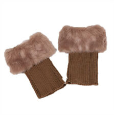 Damen Warm Winter Strickmanschetten Fell Knit Stiefel Stulpen Socken Beinwärmer