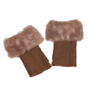 Womens Winter Knitted Leg Warmer Faux Fur Cuffs Toppers Ankle Trim Boot Socks