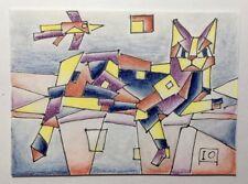 """Miniature. Cat. Igor Abushaev, Olga Abushaev. ACEO 3.5""""X2.5"""" Pastel, ink, paper."""