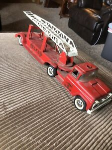 1950s Buddy L BLFD Pressed Steel Ext Ladder Truck Fire Dept  With Grill GMC