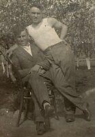 1933 Couple Men Huging Handsome Affectionate Guys Gays Interest Vintage Photo