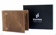 StarHide Mens Designer High Quality Brown Distressed Hunter Leather Wallet 1050