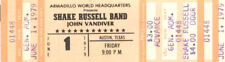 Shake Russell Band Concert Ticket 1979