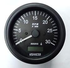Tachometer/Hourmeter 0-3000 RPM Ignition Coil Driven Gauge Black Bezel +12V