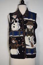 Belle Pointe Snow Men  sweater vest top  Button Down Women's Size Small