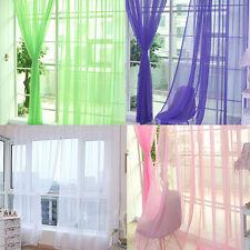 Plain Tulle Voile Tab Top Door Window Net Panel Curtain Sheer Valances ScarfNEW