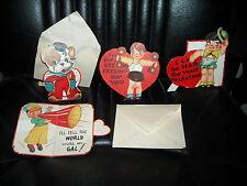 4 vintage paper valentines cards moving parts mechanical 2 envelopes