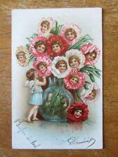 Ange et cornemuse de fleurs CPM Format CPA