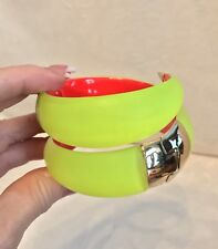 ALEXIS BITTAR Neon Yellow Lucite, Red Lined Hinged DOUBLE WRAP Bracelet