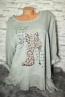 Italy Shirt Tunika Bluse Oversized High Heels Gr. 38 40 42 44 Grau blogger NEU