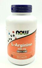 Now Foods L-Arginine 500 mg 250 Capsules MADE IN USA Expires 11/2023