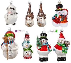 Christbaumschmuck Schneemann Glas Anhänger Weihnachtsbaumschmuck Figuren Glitzer