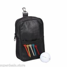 Black Leather Travel Golf Game for Balls and Tees golf pouch bag -AP7123