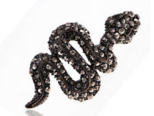Brilliant Black Crystal Rhinestone Hissing Angry Cunning Face Snake Wrap Ring